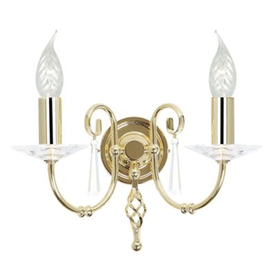 Polished Brass 2lt Wall Light - 2 x 60W E14
