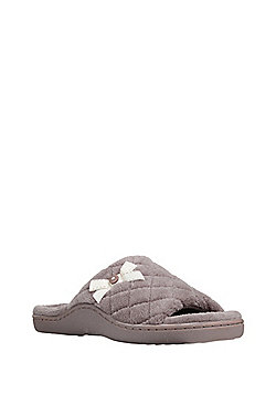F&F Quilted Open Toe Slippers - Brown