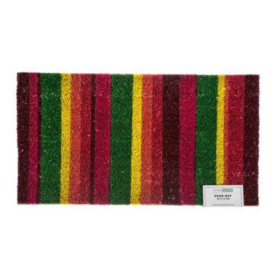 Homescapes Multi-Coloured Stripe Coir Doormat
