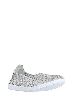 F&F Active Woven Metallic Slip on Plimsolls - Silver