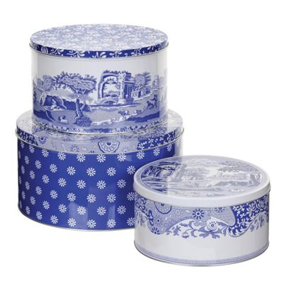Pimpernel Blue Italian Cake Storage Tins, Set of 3