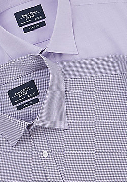 F&F 2 Pack of Easy Care Slim Fit Long Sleeve Shirts - Purple