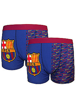FC Barcelona Boys Boxer Shorts 2 Pack - Blue