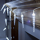 24 Cool White LED Twinkling Icicle Lights for Indoor Outdoor Use