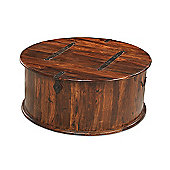 Maharajah Indian Rosewood Round Coffee Table Trunk