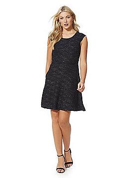 Mela London Sparkle Textured Fit and Flare Dress - Black