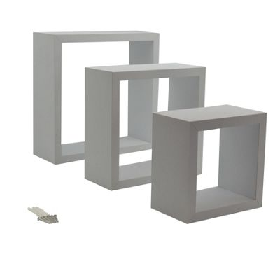 White Square Floating Box Shelves - 3 Different Sizes - Set of 3