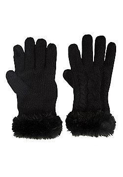 Mountain Warehouse Faux Fur Touch Screen Womens Gloves - Black