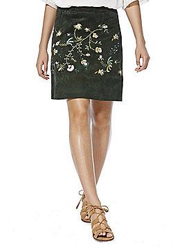 F&F Signature Embroidered Suede Mini Skirt - Dark green