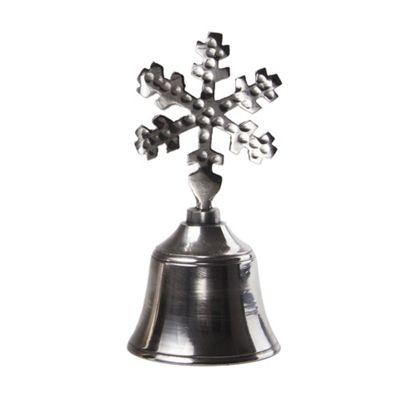 Silver Christmas Bell with Seasonal Snowflake Handle