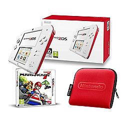 2ds red white mario kart 7 and case