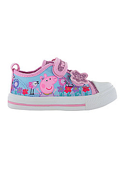 Girls Peppa Pig Glitter Pink Sports Trainers Shoes Hook & Loop UK Sizes 5 to 10 - Pink