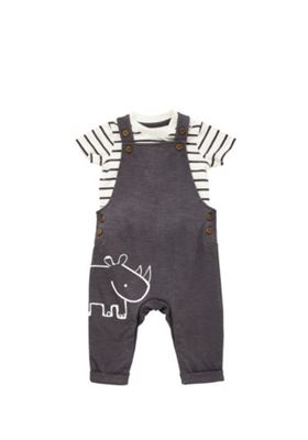 F&F Striped Bodysuit and Dungaree Set Multi 0-1 months