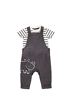 F&F Striped Bodysuit and Dungaree Set - Multi