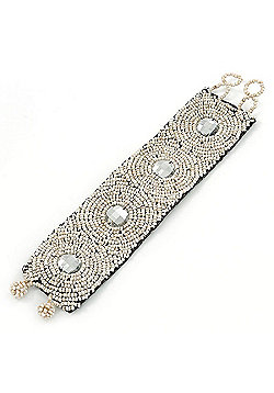 Handmade Boho Style Antique White Glass Bead with Clear Crystals Wristband Bracelet - 18cm L/ 2cm Ext