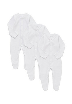 F&F 3 Pack of Sleepsuits - White