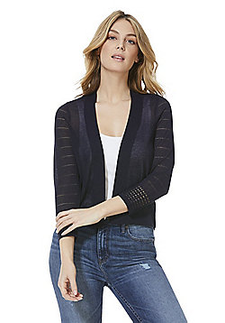 F&F Pointelle Sleeve Cardigan - Navy