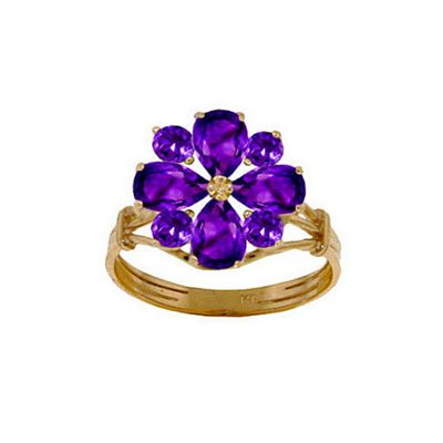 QP Jewellers 2.43ct Amethyst Rafflesia Ring in 14K Gold - Size N 1/2