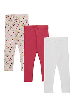 F&F 3 Pack of Floral Print and Plain Leggings - Multi