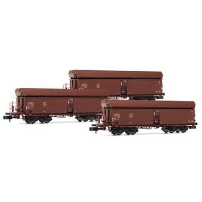 ARNOLD HN6366 Set 3x self-discharging wagons + top-box, brown, N Gauge