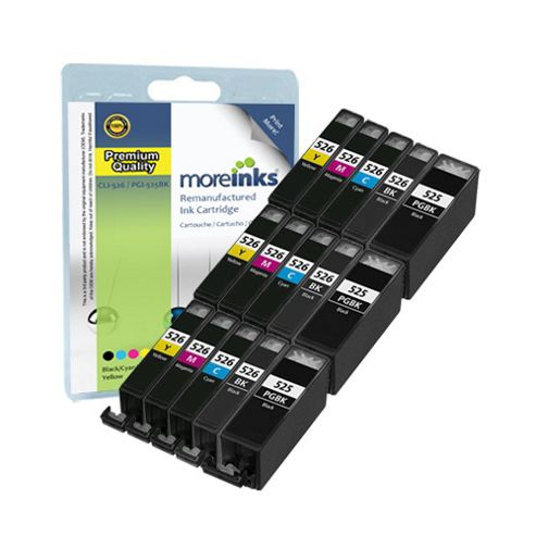 15 Compatible Ink Cartridges for Canon Pixma MG5350 - Cyan / Magenta / Yellow / Black (Capacity: 166.2 ml)