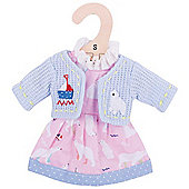 Bigjigs Toys Pink Polar Bear Rag Doll Dress and Cardigan for 28cm Soft Doll - Suitable for 2+ Years