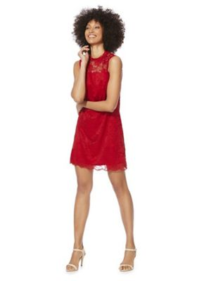 F&F High Neck Lace Dress Red 6