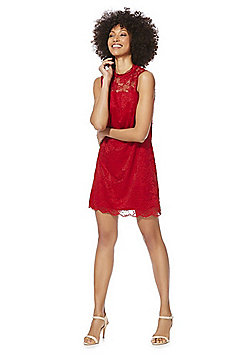 F&F High Neck Lace Dress - Red