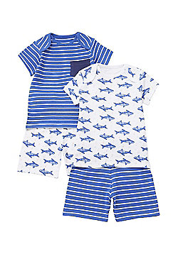 F&F 2 Pack of Shark Print Pyjamas - Blue & White