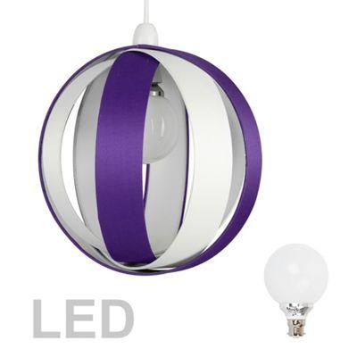 J90 Globe LED Ceiling Pendant Light Shade, Purple & Cream & Décor Bulb