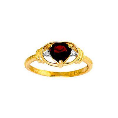 QP Jewellers Diamond & Garnet Halo Heart Ring in 14K Gold - Size M 1/2