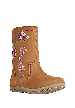 F&F Embroidered Faux Suede Boots - Tan