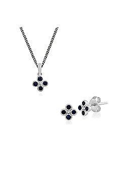 Gemondo Sterling Silver Sapphire Cluster Stud Earring & 45cm Necklace Set