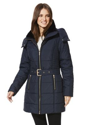 Only Brooke Padded Belted Coat S Navy