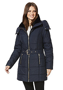Only Brooke Belted Puffer Coat - Navy
