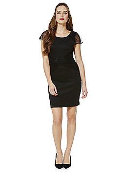 Vila Vidaisy Lace Trim Cap Sleeve Dress - Black