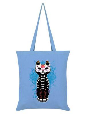 Unorthodox Sugar Skull Kitten Tote Bag 38x42cm Sky Blue