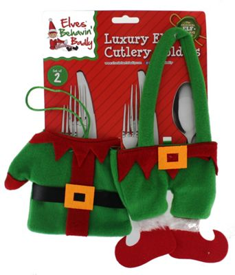 Elves Behavin' Badly Set Of 2 Elf Cutlery Holders Christmas Table Decor Set