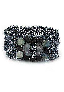 Hematite Coloured Glass Bead Flex Bracelet with Shells - up 20cm L