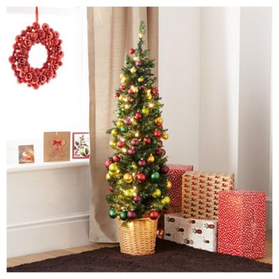 festive 4ft pencil christmas tree with traditional decorations