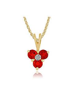 Gemondo 9ct Yellow Gold 0.22ct Fire Opal & Diamond Floral Pendant on 45cm Chain