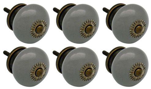 Ceramic Cupboard Drawer Knobs - Grey - Pack Of 6