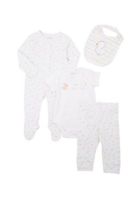 F&F Duck and Bear 4 Piece Set White Multi Tiny baby