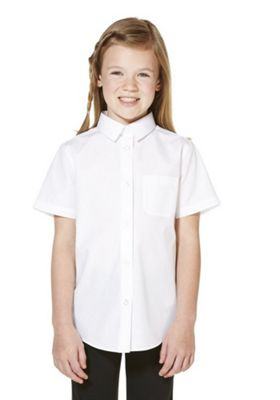 F&F School 5 Pack of Girls Easy Care Short Sleeve Shirts 5-6 years White