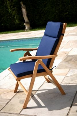 Reclining Chair Garden Cushion Midnight Blue