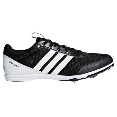 adidas Distancestar Womens Running Spike Trainer Shoe Black/White - UK 6.5