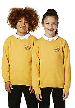 Unisex Embroidered V-Neck Cotton School Jumper with As New Technology - Gold