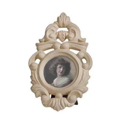 Cream Clay Paint Photo Frame - Round