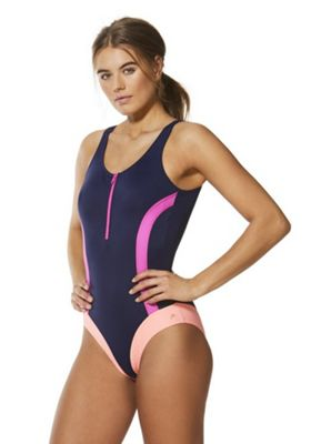 F&F Active Colour Block Swimsuit Navy/Pink 16
