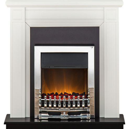 Adam Georgian White & Black Electric Fireplace Suite